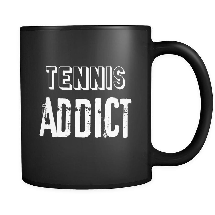 Tennis Tennis Addict 11oz Black Mug-Drinkware-Teelime | shirts-hoodies-mugs