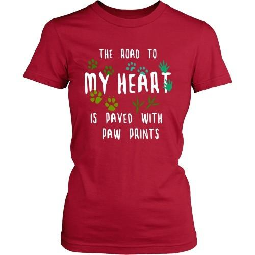 Vet Tech T Shirt - The road to my heart is paved with paw prints-T-shirt-Teelime | shirts-hoodies-mugs