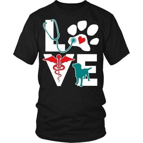 Vet Tech T Shirt - Veterinarian Love dog v.Teal-T-shirt-Teelime | shirts-hoodies-mugs