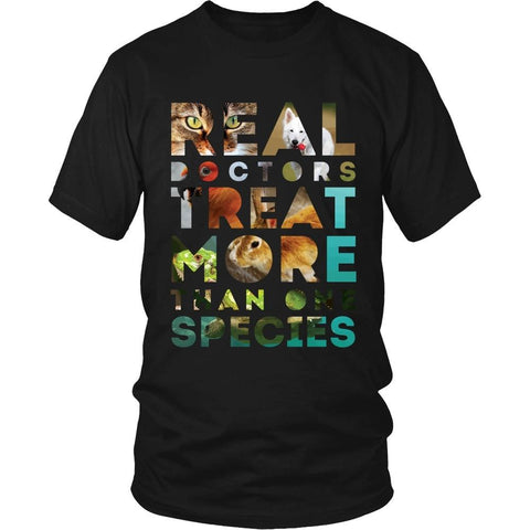 Veterinary T Shirt - Real Doctors treat more than one species-T-shirt-Teelime | shirts-hoodies-mugs