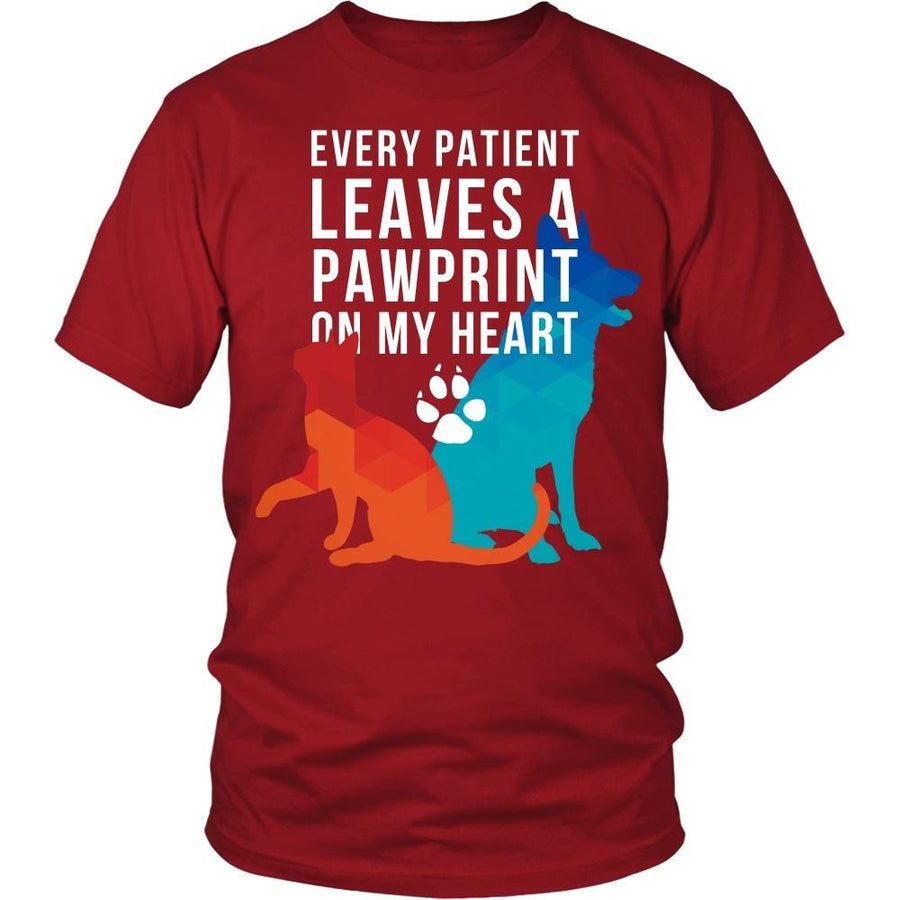 Veterinary T Shirts and Hoodies - Every patient leaves a pawprint on my heart