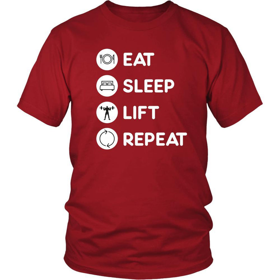 Weightlifting - Eat Sleep Lift Repeat - Weightlifting Hobby Shirt-T-shirt-Teelime | shirts-hoodies-mugs