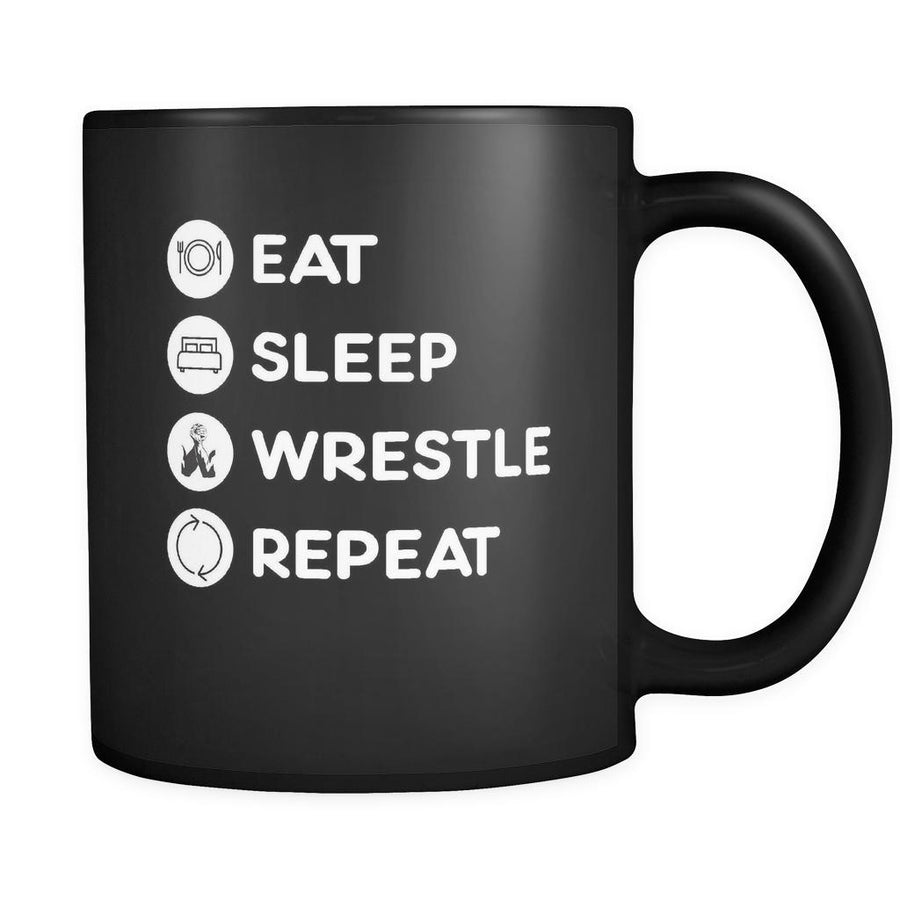 Wrestling - Eat Sleep Wrestle Repeat - 11oz Black Mug-Drinkware-Teelime | shirts-hoodies-mugs