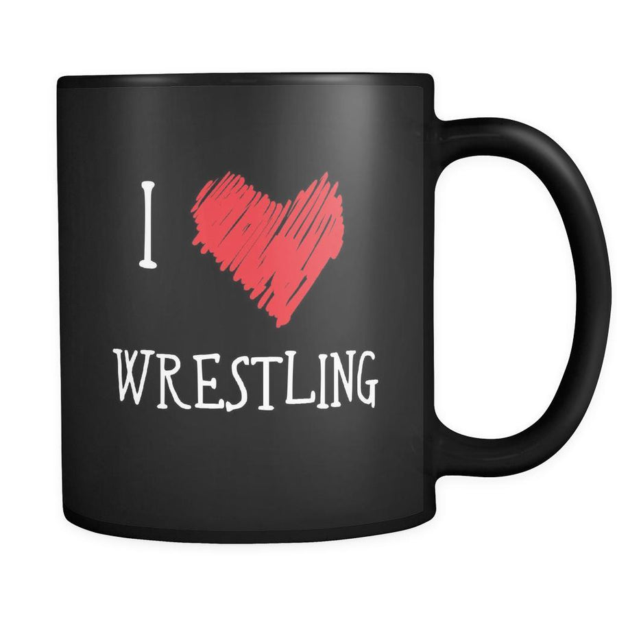 Wrestling I Love Wrestling 11oz Black Mug-Drinkware-Teelime | shirts-hoodies-mugs