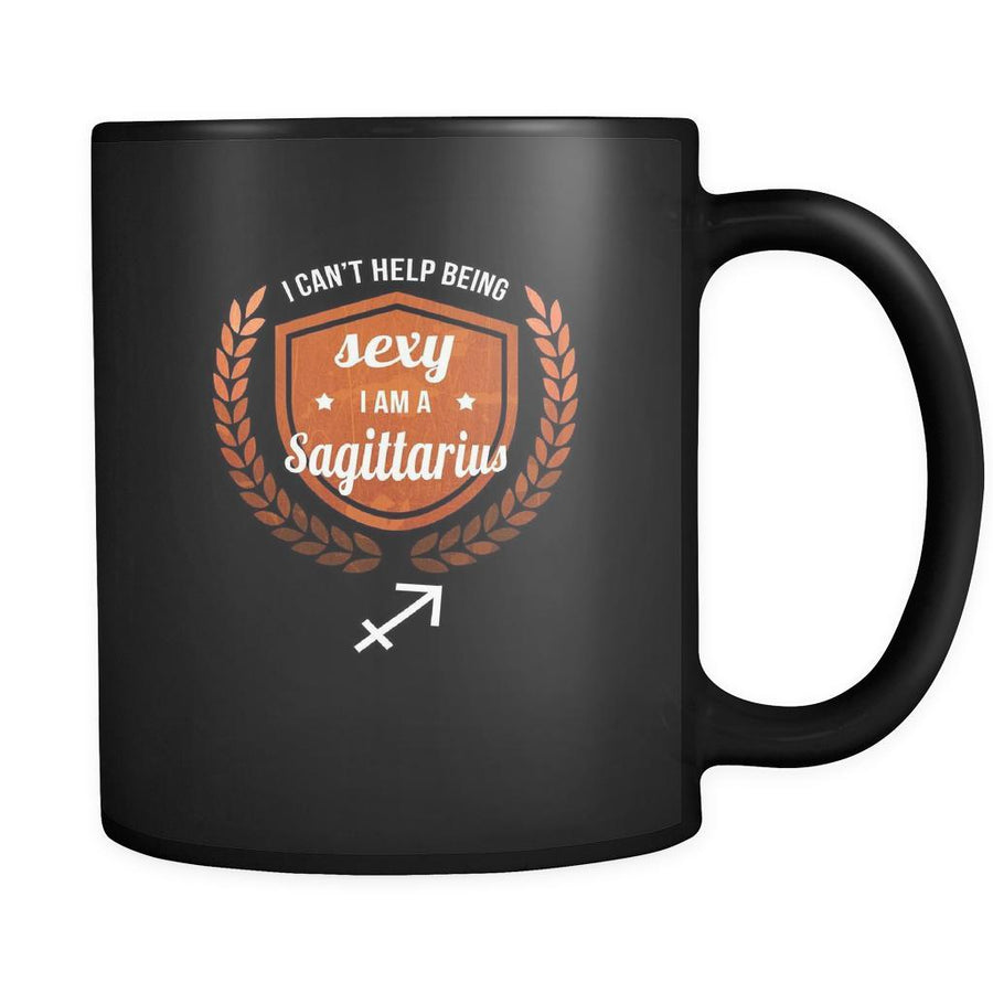 Zodiac I can't help being sexy I'm a sagittarius 11oz Black Mug-Drinkware-Teelime | shirts-hoodies-mugs