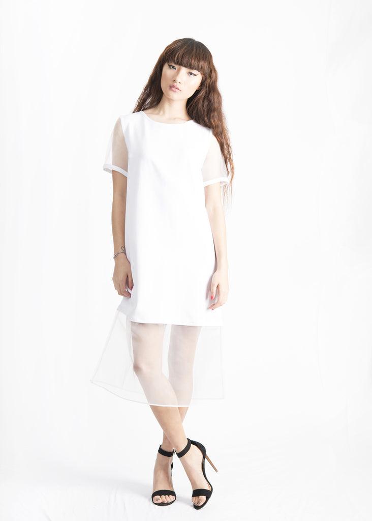 Peggy Organza Paneled Midi T-shirt Dress