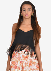 Geraldo Fringed split-Back Cami top
