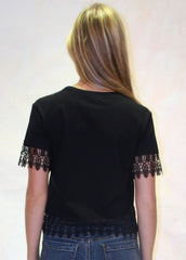 Olga Lace Trim Crop Tee