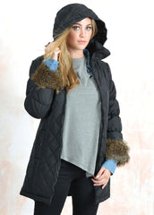 Fur Trimmed Bubble Sleeves Polyfilled Pant Coat