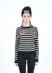 Heart Patch Striped Sweater