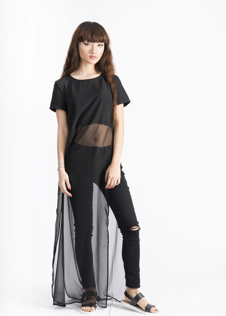 Glynnis Paneled Longline High-slit Top