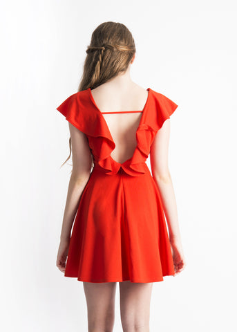 Katherine Lattice Detail Cape Skater Dress