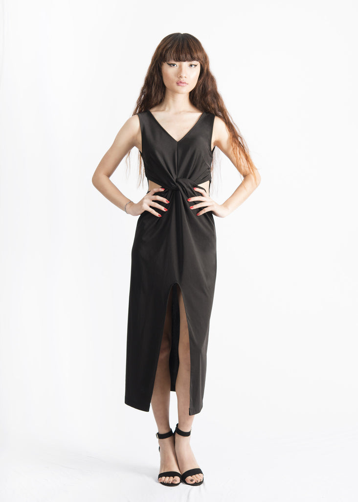 Kerri Cutout Knotted  Midi Dress