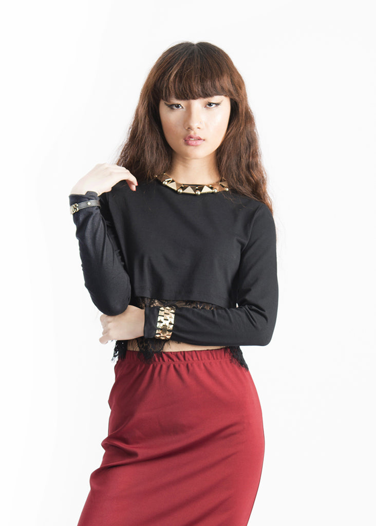 Felicia Lace Hem Longsleeves Top