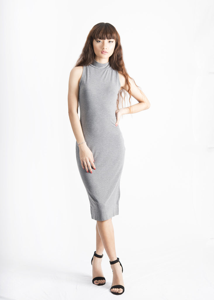 Mock Neck Knee Length Dress
