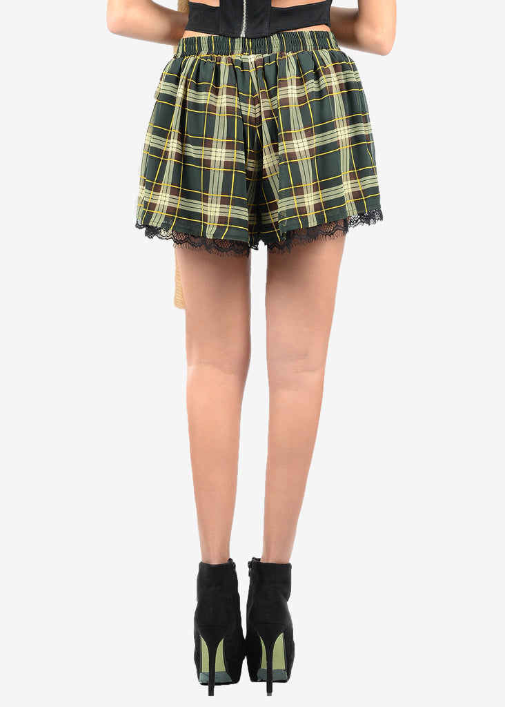 Lace Trimmed Plaid Skirt-like Shorts