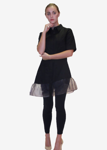 The Asteriod Organza Hem Shirt Dress
