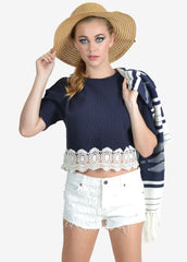 Lace Hem Crop Top