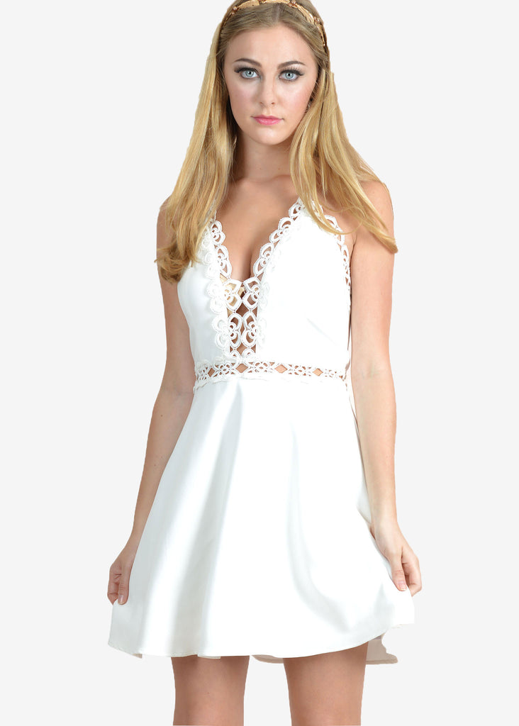 Jessica Crochet Skater Halter Dress