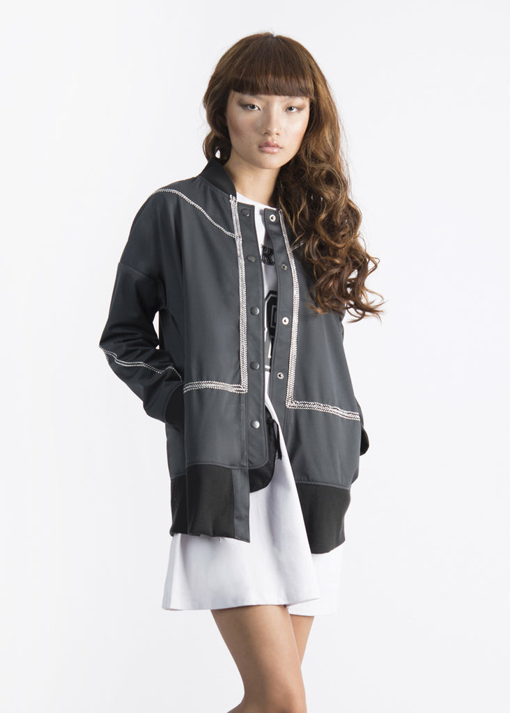 Rope Highlight Quilted Bomber Jacket