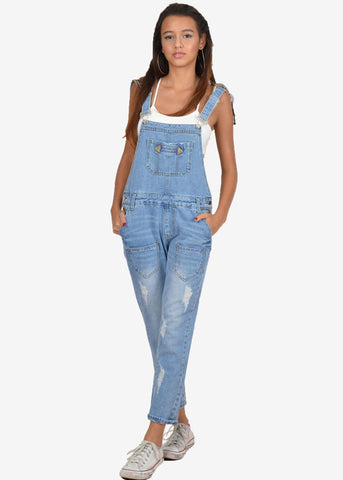 Iris Distressed Denim Overall