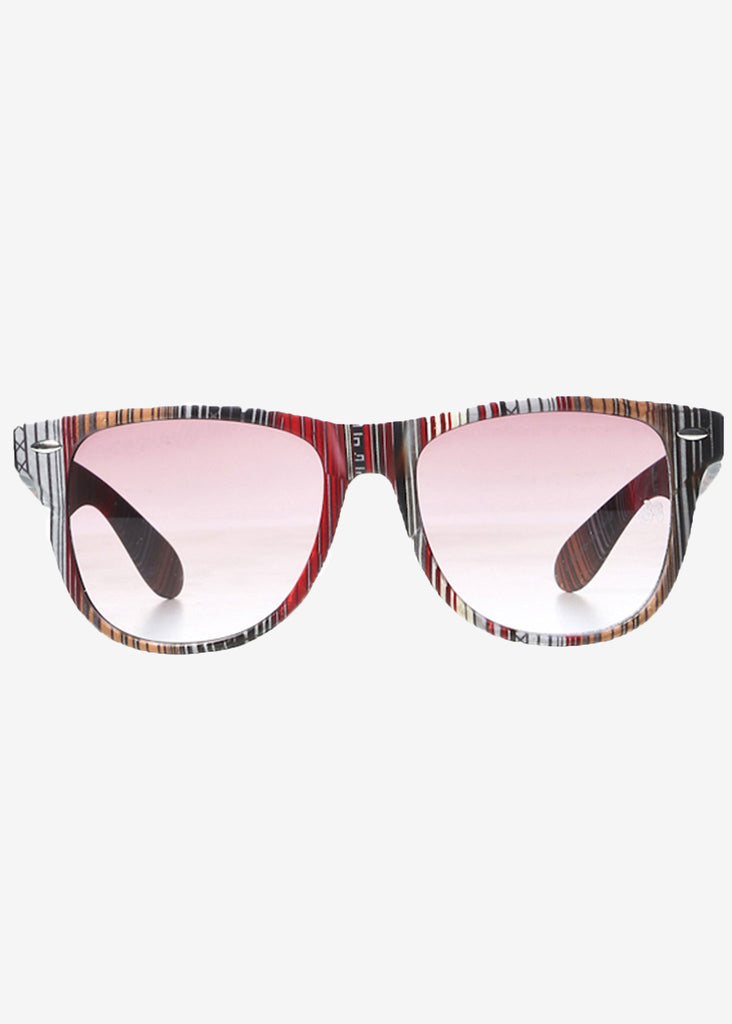 Multi-Coloured Stripes Print Wayfarer