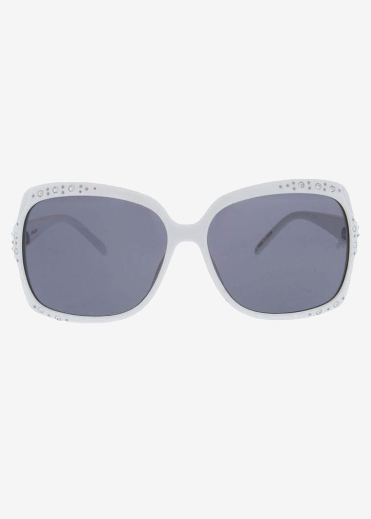 White Oversized Square Bling Sunglasses