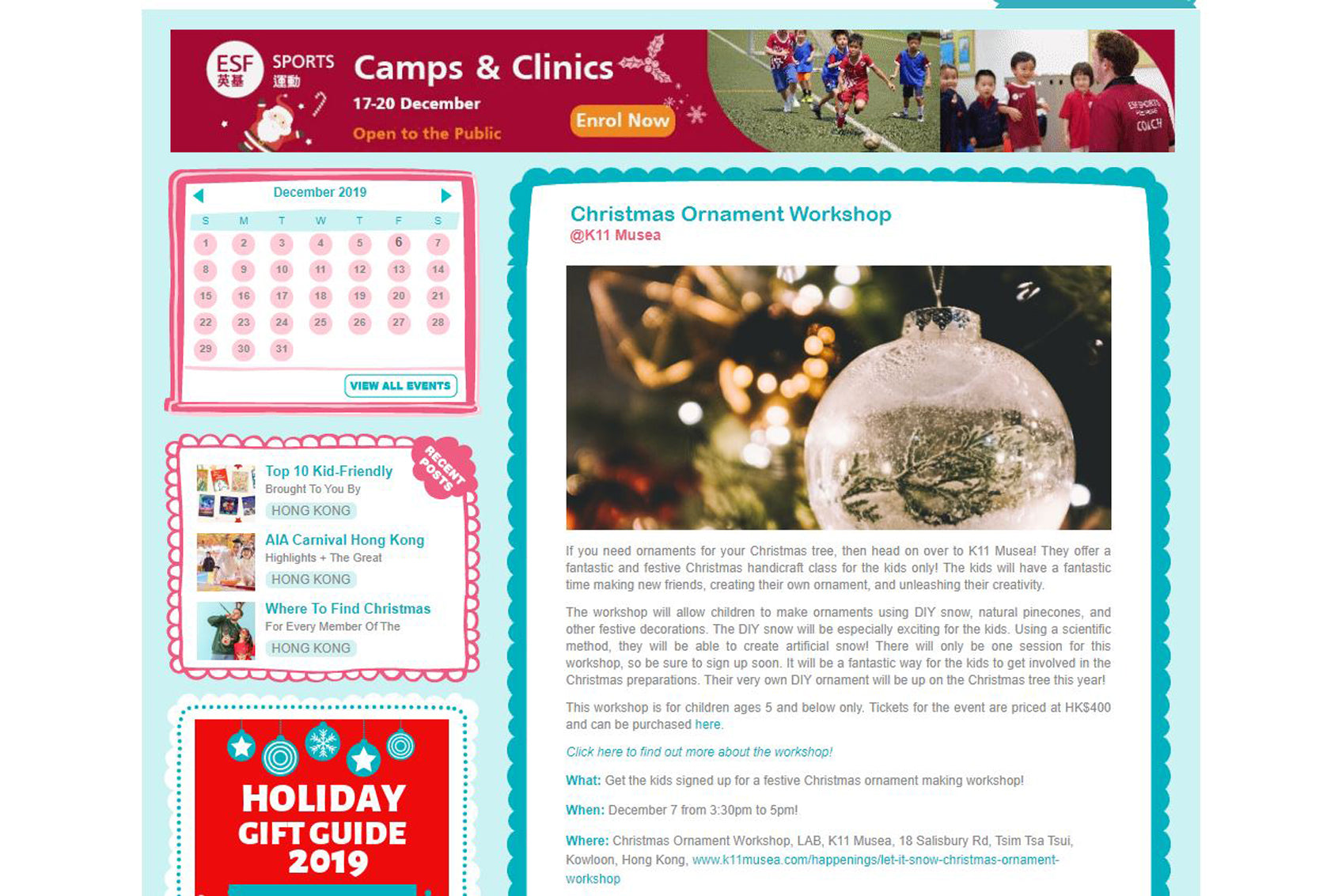 Featured in Little Steps Asia: Christmas Ornament Workshop @K11 Musea