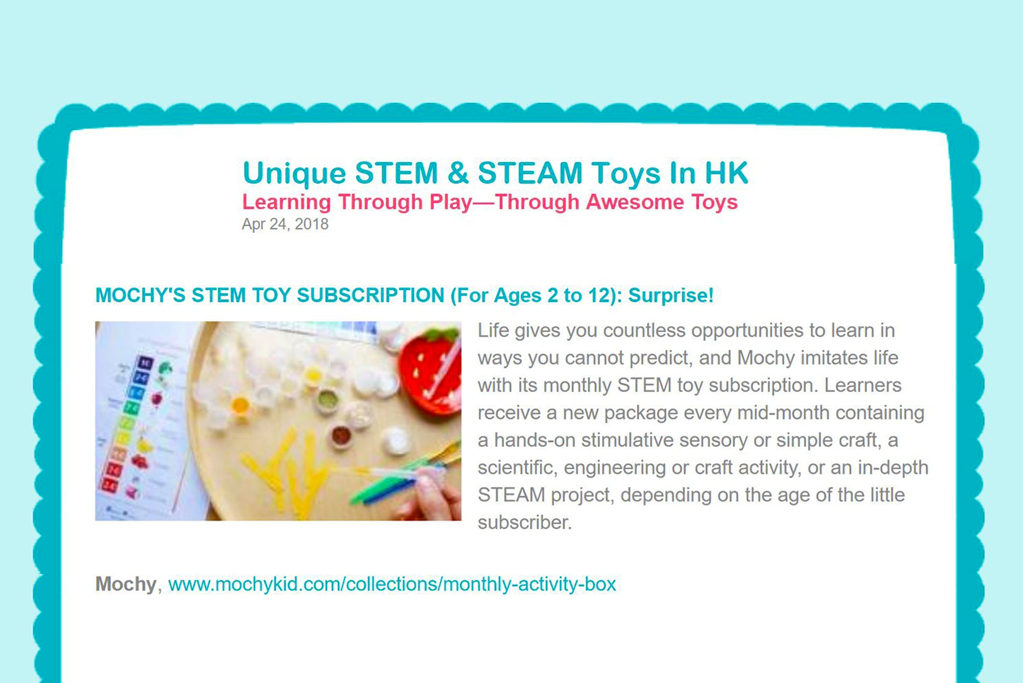 Featured in Little Steps Asia