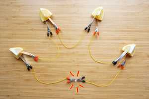 Fruit Battery Circuit , light up fruit with metal strips, science, diy, home, experiment, diy, simply, easy