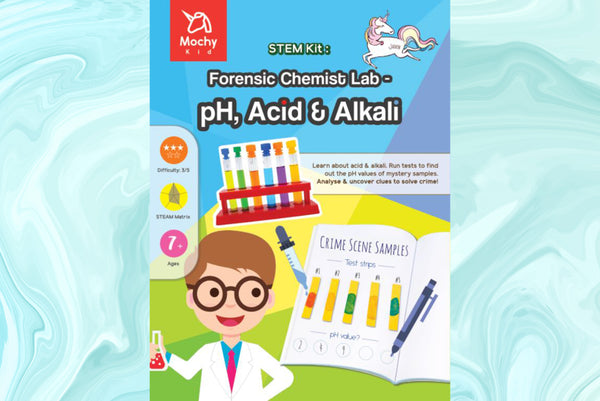 STEM activity kit, teaching material, chemistry, Forensic Chemist Lab – pH, Acid & Alkali (exclusive | medical grade)