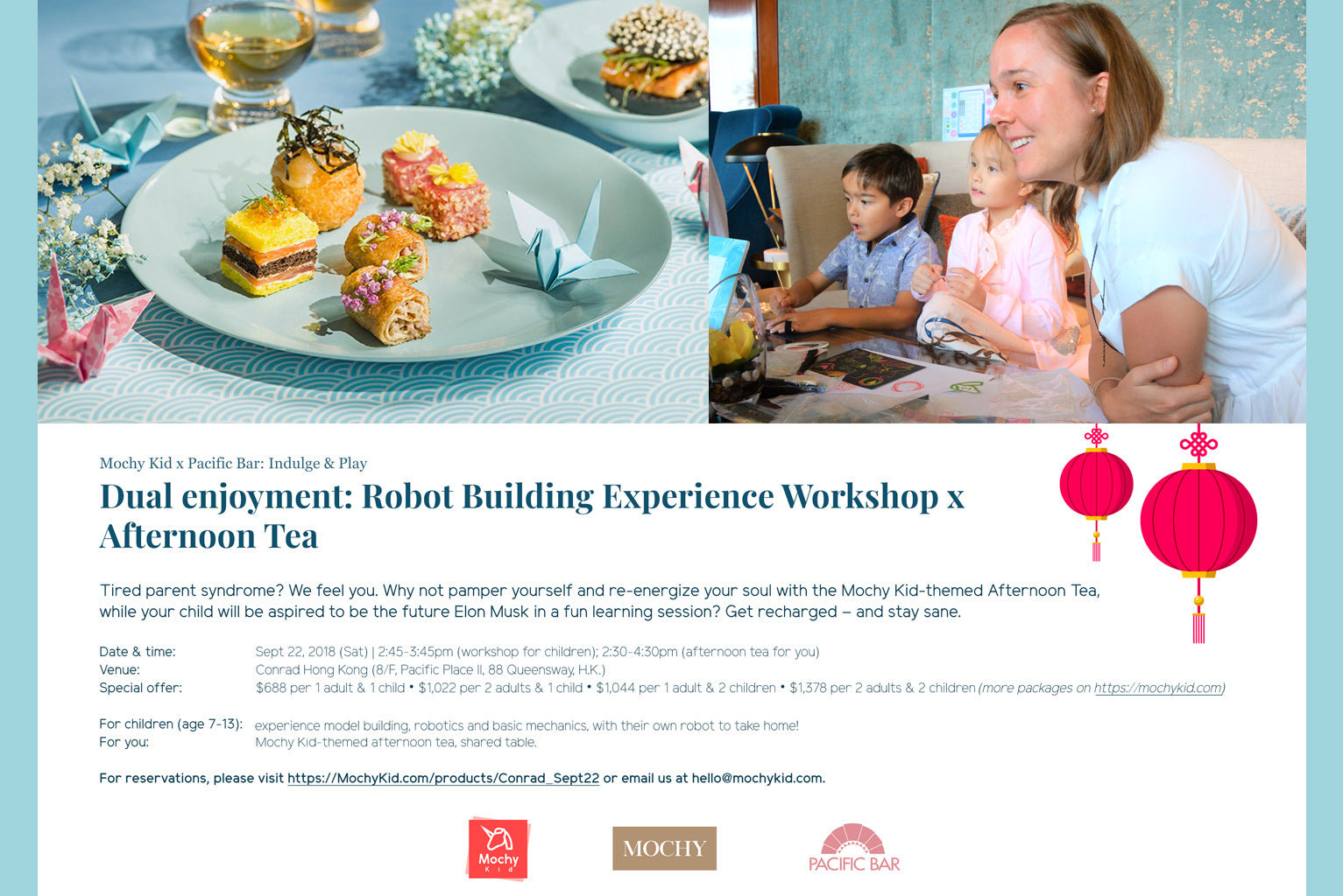 (Expired) Mochy x Pacific Bar @Conrad hotel: Robot Building Experience  Workshop & Afternoon Tea