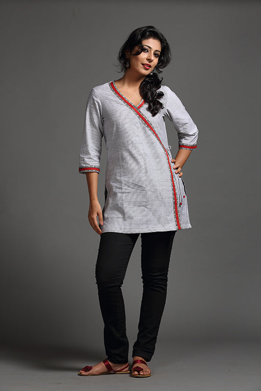 Pinstriped Overlap Tunic - FLOOD SURVIVOR