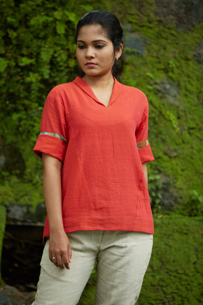Colour of Poppies Roll Collar Top