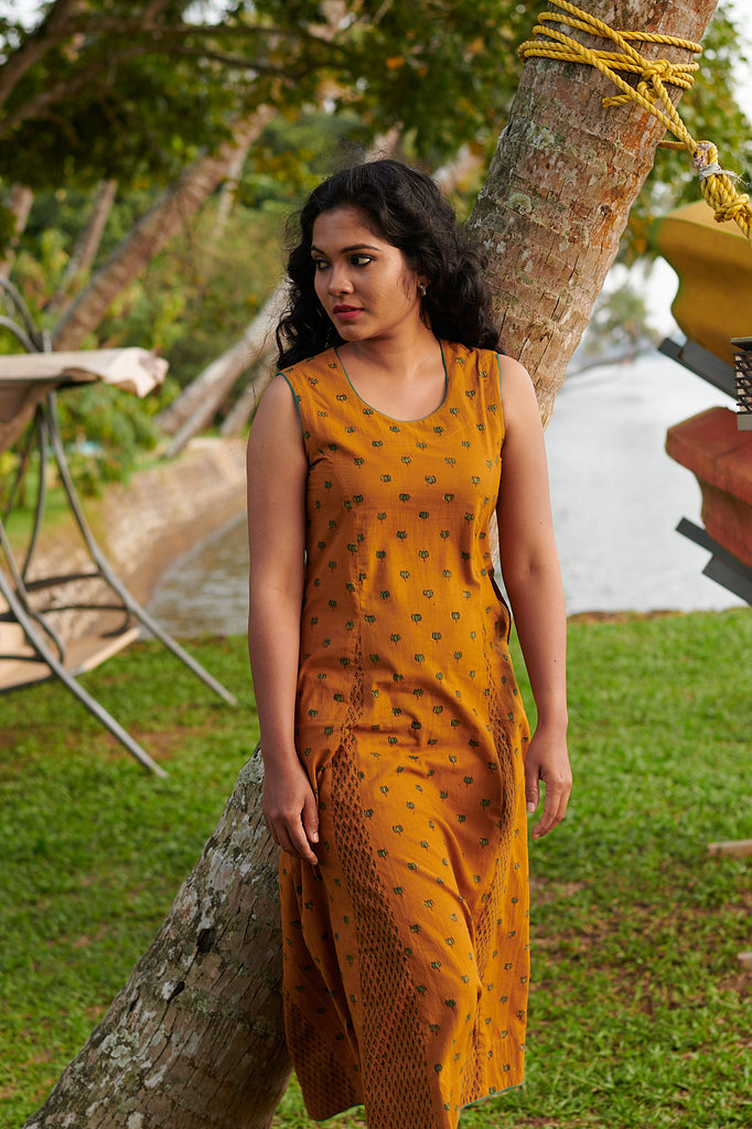 Mustard Blockprint Dress