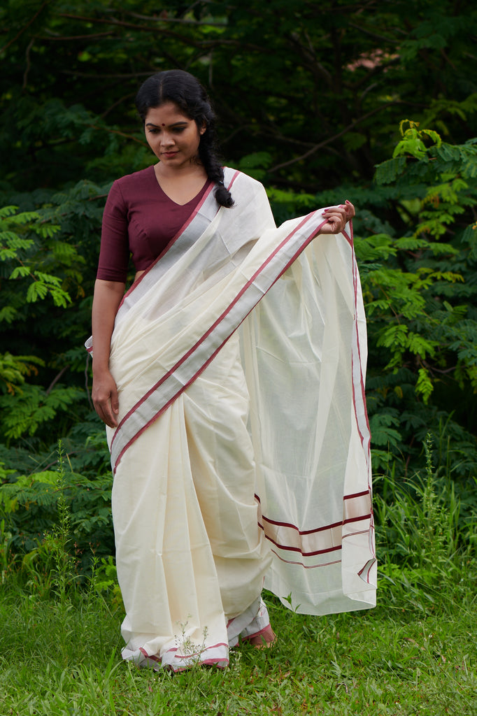 Theni Vella Kasavu Saree