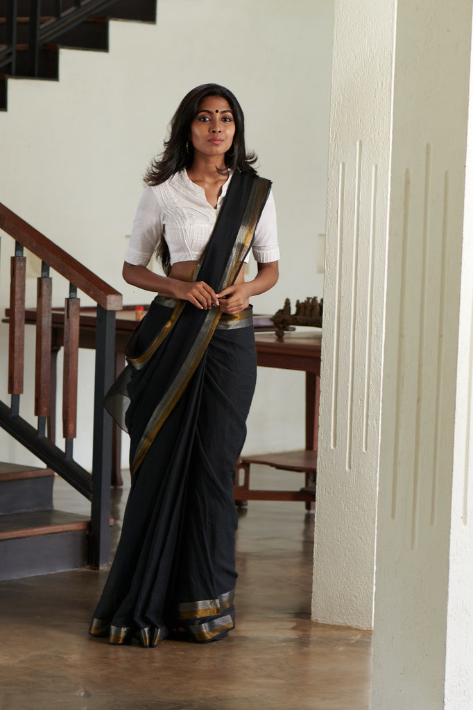 Inky Black Kota Zari Saree