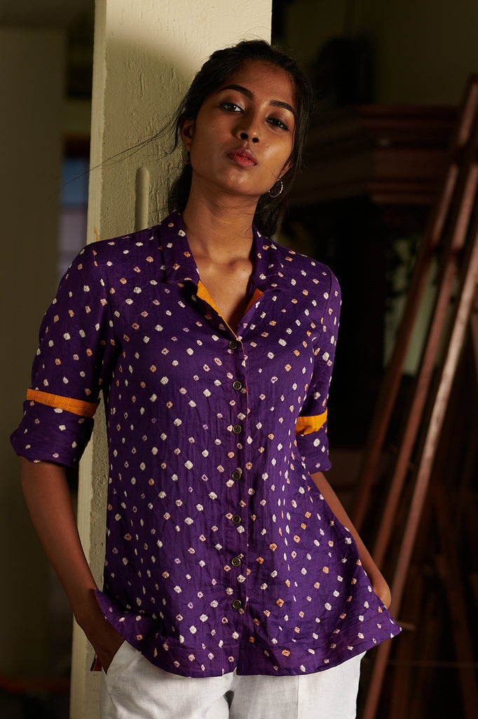Royal Purple Bandhani Shirt