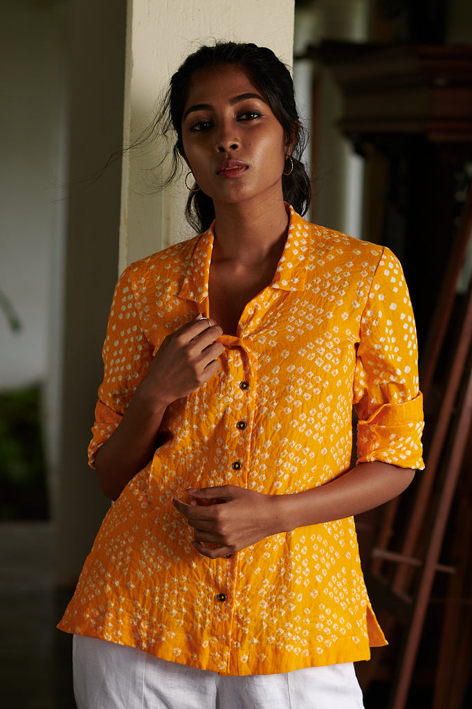 Sunflower Yellow Bandhani Shirt