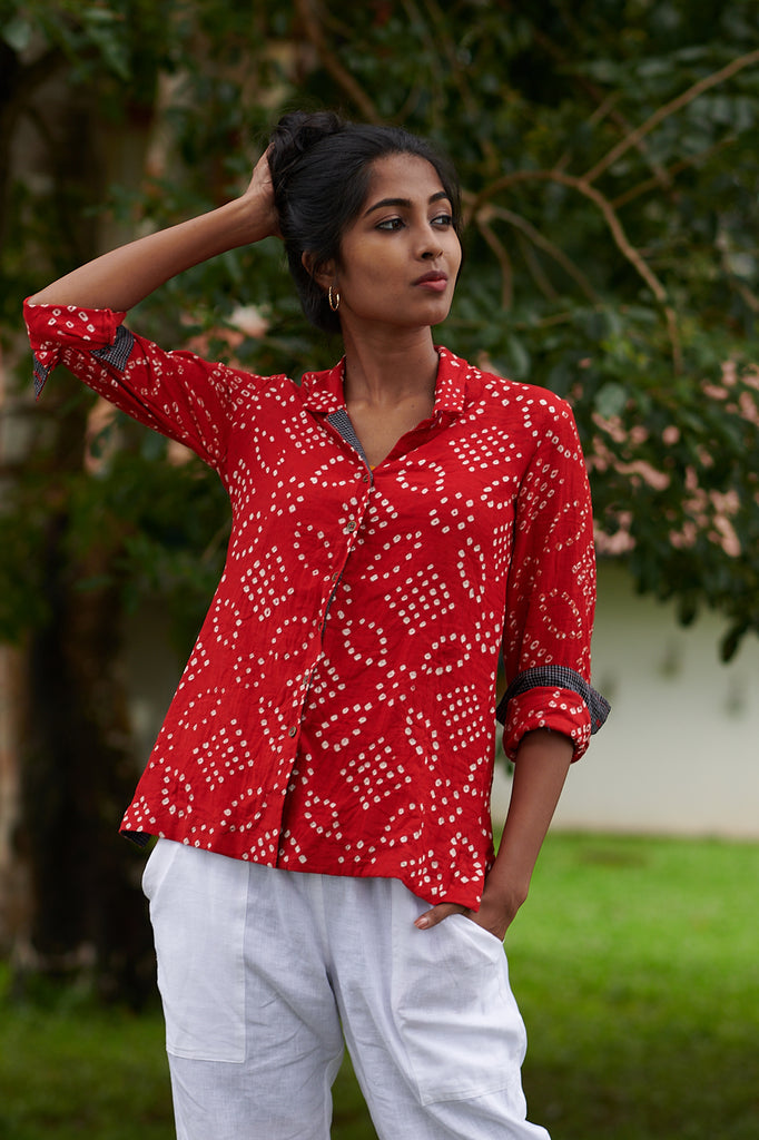 Hibiscus Red Bandhani Shirt