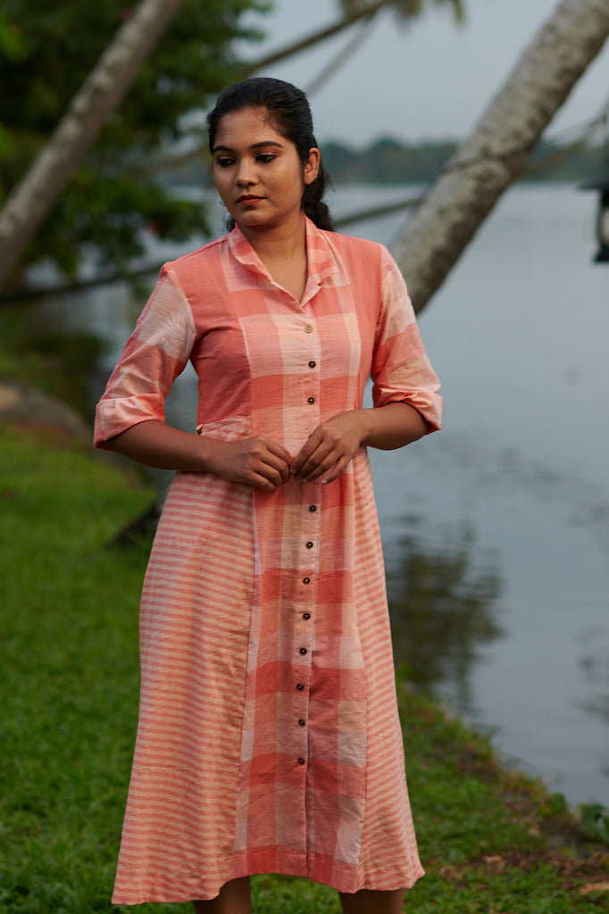 Peach Medley Shirtdress