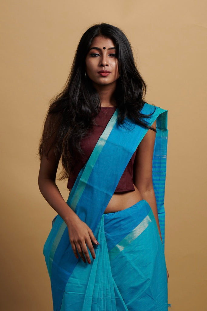 Teal -Blue Saree