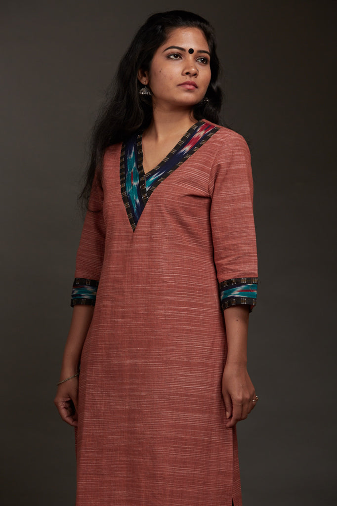 Rose Brown Khadi Kurta - FLOOD SURVIVOR