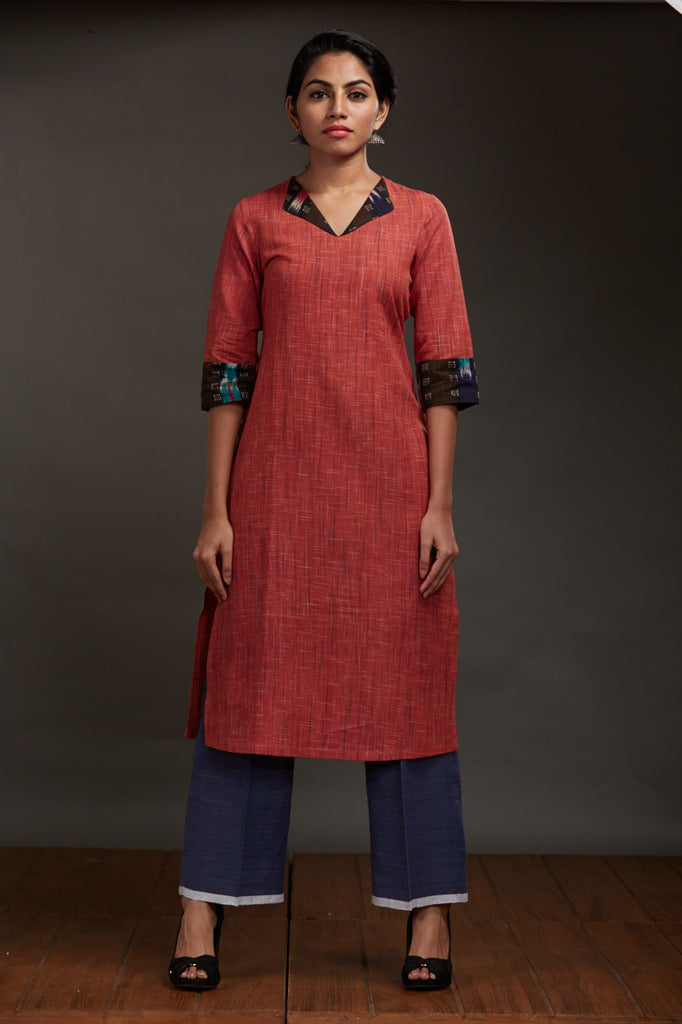 Burnt Orange Khadi Kurta