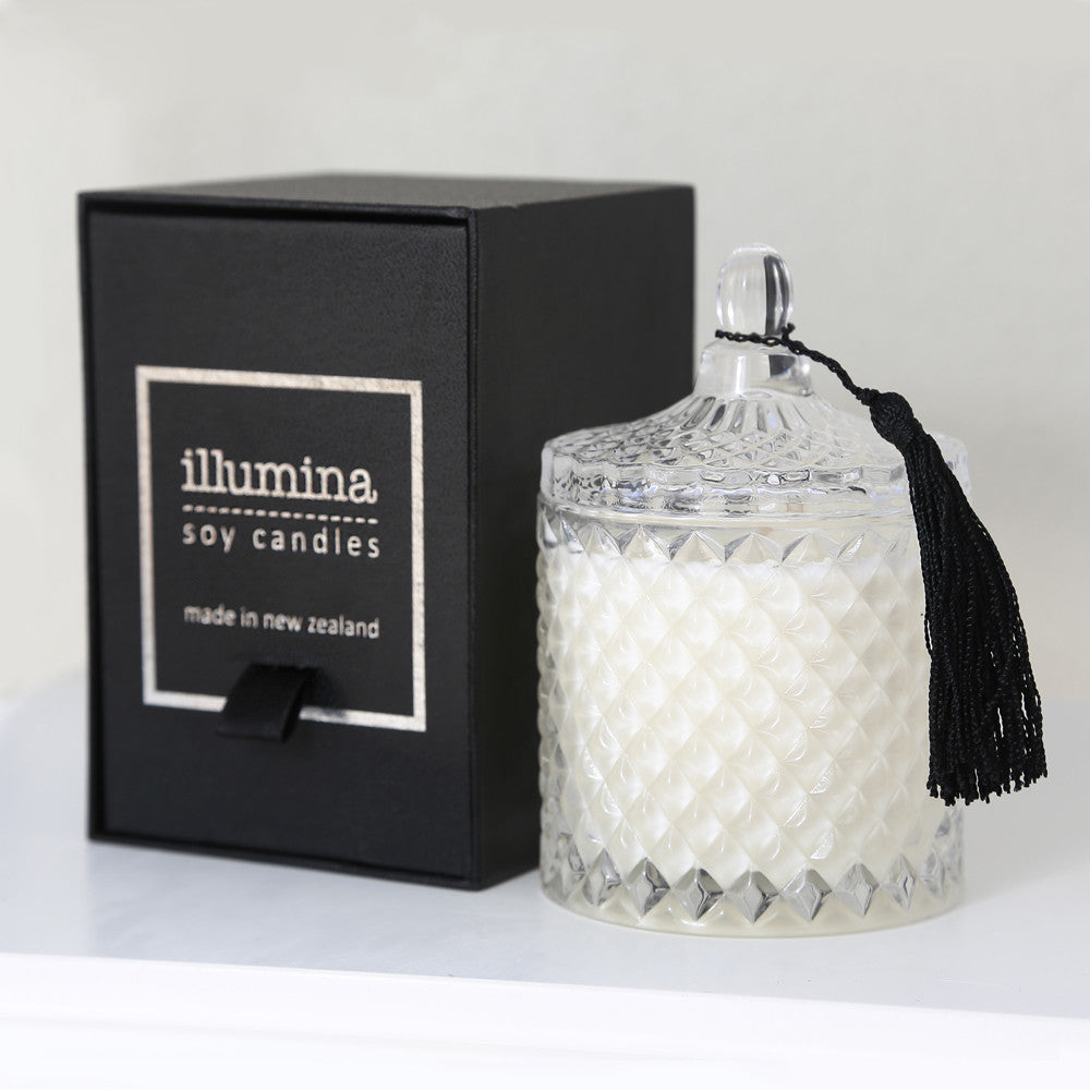Illumina Lidded Crystal Candle with Tassel and Black Box