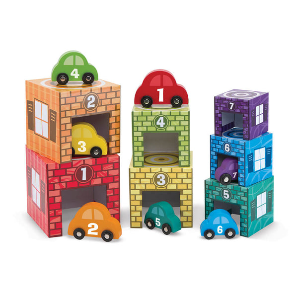 Wooden Toy - Melissa & Doug Nesting and Sorting Garages and Vehicles - Toy Cars - Wood/Multi