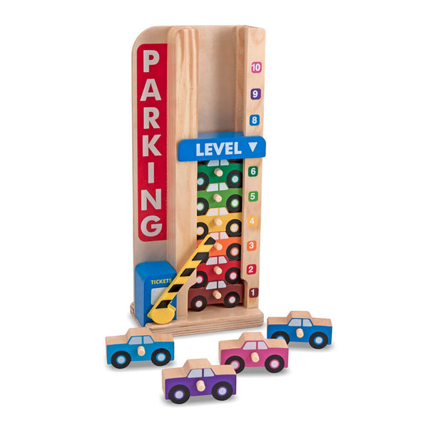 Wooden Toy - Melissa & Doug Stack and Count Parking Garage - Toy Cars - Wood/Multi