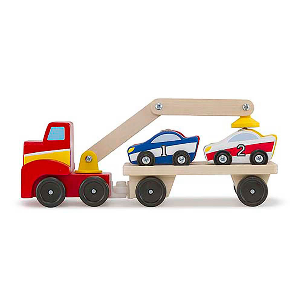 Magnet Toys - Melissa & Doug Magnetic Car Loader - Toy Truck - Wood/Multi