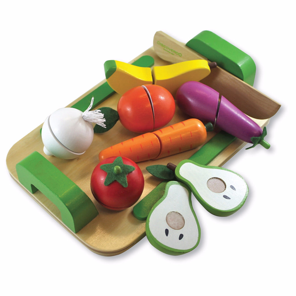 Wooden Toy - Discoveroo Fruit & Vege Set - Baby Toy - Wood/Multi