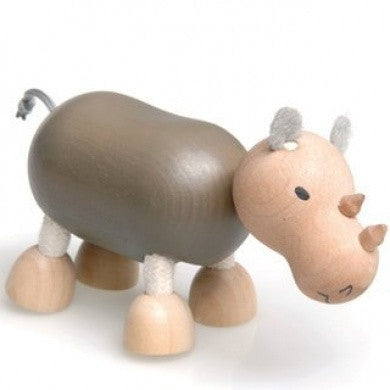 Wooden Toy - anaMalz Rhino - Animal Baby Toy - Wood/Brown